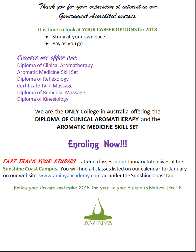 Course News and Updates – Aminya Natural Therapies Academy